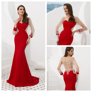 MF008 совок с длинным рукавом красный вечернее платье с кистями с Major Бисероплетение Sexy Пром платье Sheer Назад Русалка Вечерние платья с скользящим шлейфом