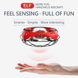 LYZ UFO Induction Aircraft Toy, Gesture Sensing Interactive Drone, Altitude Hold Quadcopter, Colorful Lights, for Xmas Kid Birthday Gift,2-2