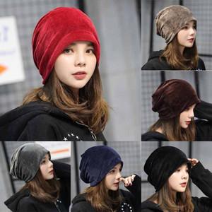 Les femmes nouvellement dames velours hiver chaud Slouch Bonnet Skullies Chapeau Mode Adulte solide Taille unique 6 couleurs Chapeaux