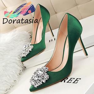 DORATASIA Fashion Lady Spring Pompes Toe cristal de luxe Pointu talon haut Escarpins Femmes Glissement Party Chaussures femme sexy