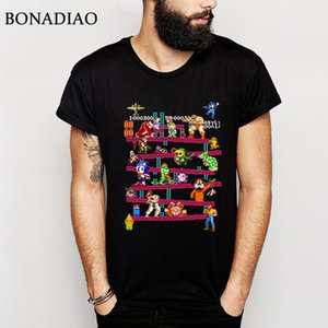 Arcade Oyun Donkey Kong Kolaj Tişörtlü Konsol Oyun Vintage Stil Tee Gömlek% 100 Pamuk Artı boyutu LA Camiseta