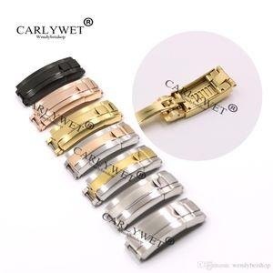 Carlywet 9mm x 9mm 브러시 폴란드어 스테인레스 스틸 시계 밴드 버클 글라이드 잠금 걸쇠 강철 팔찌 고무 가죽 스트랩 벨트