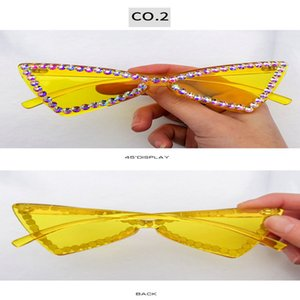 fashion Crystal diamond Ne street shot sunglass European and American trend cat eye half frame sun glasses Street shot colorful Zocvl DVEbt