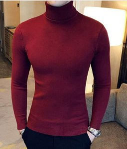 Зима с высокой горловиной Толстый теплый свитер Мужчины Водолазка Мужские свитера Slim Fit Пуловер Мужчины Черный трикотаж Мужской двойной воротник hotsale