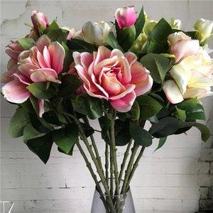 flores artificiales de seda 3 Jefes Gardenia rama para la decoración del hogar de la boda Flores artificiales falsos artificielle flores de la flor