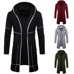 Capa de la chaqueta de los hombres del vestido de la camiseta de Hip Hop Negro Manto sudaderas Marca Moda Otoño de Calle Larga frontal abierto Capa del hombre