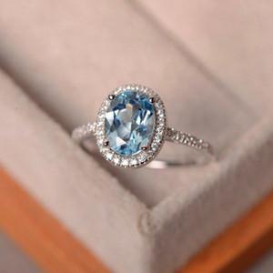 Do sexo feminino Cristal Zircon Pedra Anel de Prata 925 Roxo Verde Água Azul Anel Jóias Wedding Promise Anéis de noivado para as mulheres