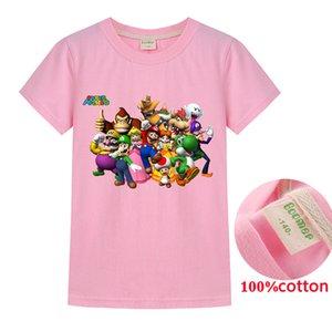 Kids super mario T-shirt Tops Baby Boy Cotton Short Sleeve Tops girls Children Cartoon basic color clothes boys girls tees