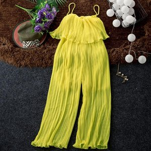 Gute Qualität feste Chiffon- Overall Frauen Plissee Rüschen Wide Leg-Knöchel-Längen-trägerlose Hosen Mode für Frauen Overall Hose