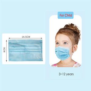 Jetable Enfants de protection Masque poussière Protection Masque Mascarillas 3ply non tissé visage bouche couverture Masque masque visage enfants