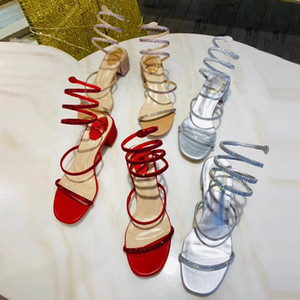 Women Sandals Snake-Wrap Open Toe Sandal Party Wedding Shoes Fashion Diamond Sandals Women Summer Chunky Heel Shoes
