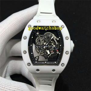 Лучшие RM055 Часы Белый керамический Мужские часы Бочка Наручные часы openworked Swiss Automatic 28800 полуколебаний Sapphire Водонепроницаемый световую резиновый ремешок