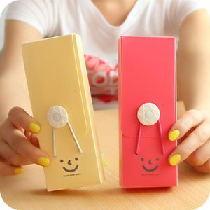 Wholesale- Korean Style Candy Color Cute Kawaii Pencil Case Pencil Bag Smiling Face For Student Girls Gift School Supplies Stationery Store