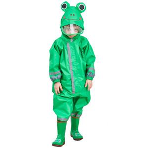 3-9 años de edad, los niños de dibujos animados rana ropa impermeable a prueba de agua impermeable con capucha Outwear Campamento Poncho Kids Rain Jumpsuit