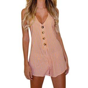 검은 V - 넥 섹시 바디 슈트 여성 긴 소매 슬래시 버튼 Bodycon Rompers 여성 점프 슈트 Summer Spring Body Suit #H