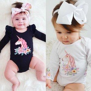 Bebek yenidoğan Bebek Kız Giyim için 0-24M Karikatür Unicorn Bebek Rompers Uzun Kollu Top Jumpsuit O-Boyun Çocuk Giyim