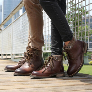 Men's outdoor shoes Motorcycle Boots Leather Motorcycle Racing Boots Men Road Knight Coffee Color Retro Moto Motocross