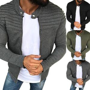 Uomo Casual Jacket Uomo Slim Felpe manica lunga Outerwear Top uomo bicolore con cappuccio Zipper Autunno Primavera