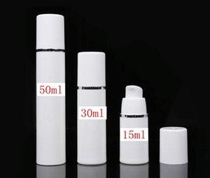Losyon BB krem vakum şişe için Yeni beyaz PP 15ml havasız şişe beyaz renkli havasız pompa