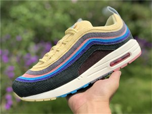 2020 El más reciente Sean Wotherspoon x 1/97 VF SW híbrido de los zapatos corrientes para los hombres de las mujeres del arco iris pana zapatillas auténtico viene con la caja OG 36-45