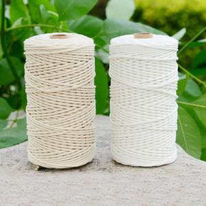 200M دائم القطن الأبيض الحبل الطبيعية بيج الملتوية حبل الحبل كرافت مكرم سلسلة DIY اليدوية ديكور المنزل 3MM العرض