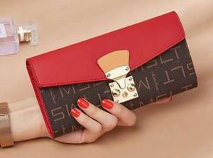 Moda Marca lona cubierta de cuero real de Niza señora Wallet mujeres del diseñador de moda de la aleta de cierre Monedero 58414