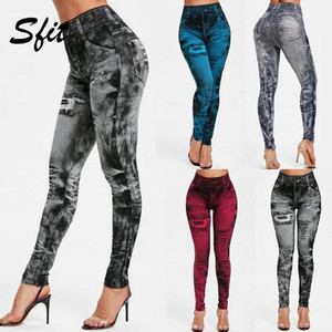Mulheres da ginástica Leggings Faux Denim Jeans Leggings bolso Printing Leggings Casual cintura alta lápis calças mais calças Yoga tamanho