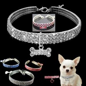 Bling collier de chien strass cristal chiot chihuahua Pet Colliers Laisse pour petits chiens moyens Mascotas Accessoires S M L Rose
