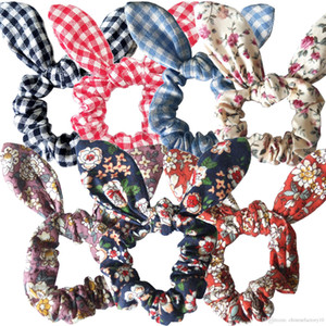 Conejito de la flor del oído Hairband pelo de conejo anillo Scrunchy niños abrigo de la cabeza de las vendas del Ponytail de la muchacha de las mujeres de pelo Pascua Accesorios 25 Colores