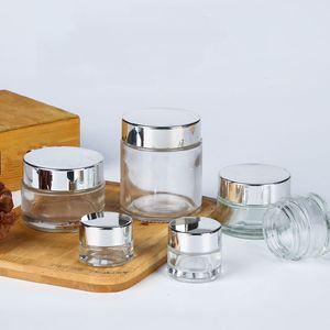 Kozmetik Krem Şişe Boş Doldurulabilir Şişe Cam Maske Parlak Gümüş Alüminyum Kapak Numune Kavanoz 5g 10g 15g 20g 30g 25pcs
