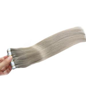 Bant İnsan Saç Uzantıları 100g Cilt Atkı gri saç uzantıları 100% Gerçek Remy İnsan Balayage Bant Saç Uzantıları içinde 40 adet