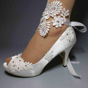 Elegante weiße Satin Hochzeit Schuhe Pailletten wulstige Spitze Ankle Straps Peep Toe High Heel Brautschuhe Band plus Größen-Frauen-Pumpen-Schuhe AL2309