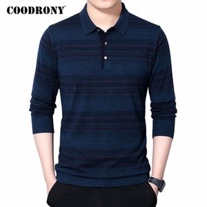 COODRONY Brand Sweater Men Spring Autumn Casual Turn-down Collar Pull Homme Soft Wool Pullover Mens Striped Knitwear Shirt C1055