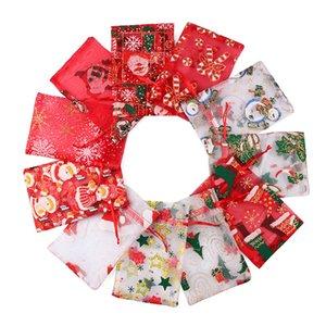 Noel Şeker Organze Çanta İpli Torbalar Gazlı bez İplik Şeker Hediye Çanta Takı Ambalaj Torbaları Noel Dekorasyon Takı Ambalaj Torbaları