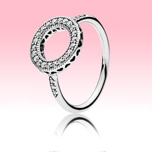 CZ diamante Sparkling halo Anel Mulheres jóia do casamento de Pandora 925 coração de prata Anéis com Originalb caixa de alta qualidade