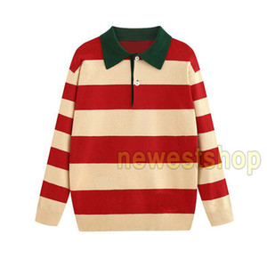 2020 otoño hombre del diseñador de moda caliente el bordado de retazos suéteres de punto a rayas da vuelta-abajo carta suelta imprimir suéter de lana