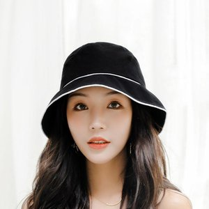 Newest Women Cotton Bucket Hats Summer Cloth Sun Hats Flat Top Solid Color Bucket Hats