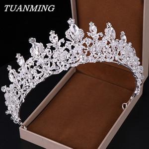 Yapay elmas Taç ve Çelenkler Düğün Gelin Tiara Kraliçe Rhinestone Kristal Taç Gelin Saç Takı Kafa süsleme SH190927