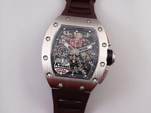KV RM 011 Montre de luxe 44mm matériau en titane DLC noir mat fait de synchronisation de bracelet en caoutchouc naturel montre mécanique