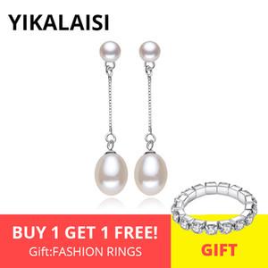 Accessori YIKALAISI 925 gioielli in argento Sterling doppio naturale orecchini gioielli di perle 8-9mm lungo modo degli orecchini Bianco Rosa Viola B ...