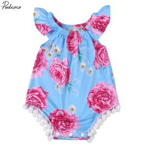 Infant Pudcoco Floral bebê recém-nascido roupa da menina Moda mangas O pescoço Bodysuit Outfits 0-24months Pudcoco