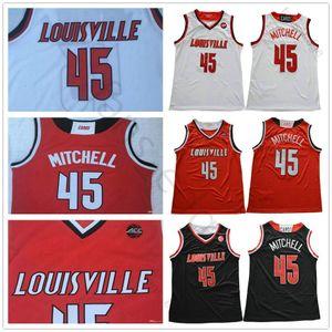 NCAA Louisville Cardinal Colégio Donovan # 45 Mitchell Basketball Jerseys Red Black White Cor costurado Donovan Mitchell Universidade shirt