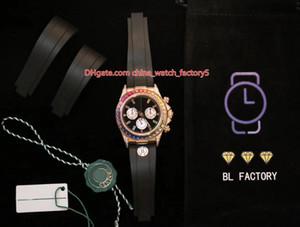 8 Style de meilleure qualité BL Maker CAL.4130 Chronographe 40mm Cosmograph 116599 116598 116595 RBOW diamant Gem BezeAutomatic Hommes de montre