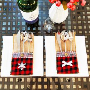 Red Plaid Chirstmas Arts de la table porte-couteau fourchette couverture Chirstmas Couverts Porte de Noël Décoration Maison Cuisine Décoration de table DBC VT0755