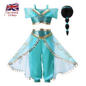 Pettigirl девушки принцессы костюм Детский Хэллоуин 2 шт Набор Sequined Детская одежда с парик Великобритании Склад