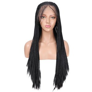 A Long Braided Box Braids Synthetic Lace Front Wig Heat Resistant Fiber Hair Black Glueless Lace Wigs For Women With Baby Hair