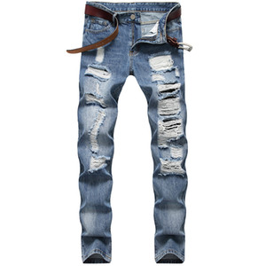 Trous Designer Jeans droites Pantalons Slim Mens Denim Casual Mid long taille Light Blue Jeans Hommes