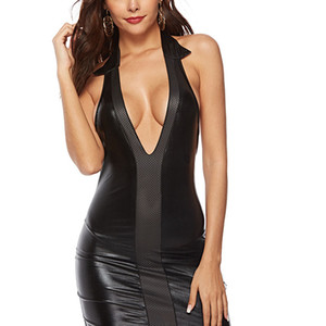 Akşam Parti Clubwear Sleepwear Sıkı-Fitting Seksi PU Elbise Derin V Yaka Açık Geri Deri