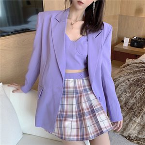 2020 Blazer púrpura elegante de las mujeres del botón de manga larga de las señoras de una sola capa Oficial del encogimiento de hombros ocasional de la chaqueta larga