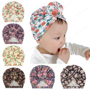 Bambino del bambino unisex sfera del nodo indiana scherza la protezione Turbante Primavera Autunno protezioni del bambino ciambella cappello del fiore di cotone Hairband